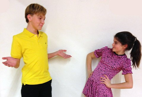 <b>MIXED 'NUTS:</b> Drewes McFarling (left) plays Charlie Brown and Lily Pieramici portrays Sally Brown.