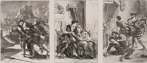 "<b>OFFSTAGE SUITE:</b> Eugène Delacroix's Hamlet Plates (from left: Plate 2, ""Hamlet Tries to Follow his Father's Ghost"" [Act 1, Sc. 4], 1835; Plate 10, ""Hamlet and the Queen"" [Act 3, Sc. 4], 1834; and Plate 16, ""Hamlet's Death"" [Act 5, Sc. 2], 1843) depict missing scenes from Shakespeare's classic play."