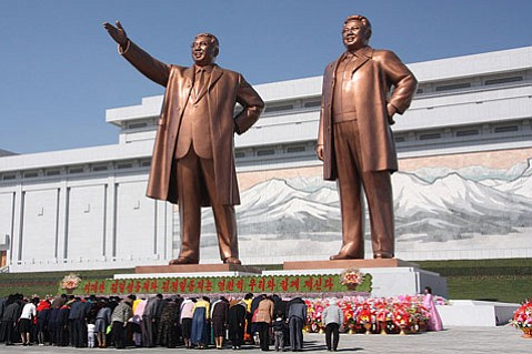 Statues of Kim Il Sung and Kim Jong Il on Mansu Hill in Pyongyang.