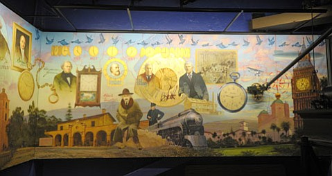 <b>TICKTOCK:</b>  The time mural adorns the walls of the Bisno Schall Clock Gallery.