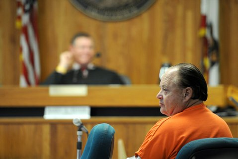 Richard Box sits in court during Friday's hearing. He faces 10 felony counts related to his alleged rape and assault of his wife and step-daughter, who both recently moved to Santa Barbara from Thailand.
