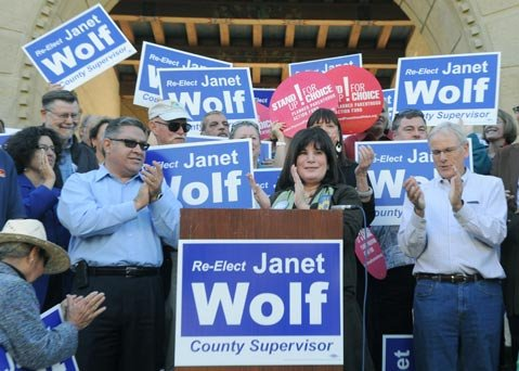<b>FLANKED BY FANS:</b> Supervisor Janet Wolf was backed by area politicians on Monday during her announcement to run for reelection.