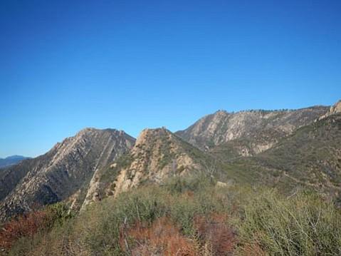 Twin Perch (center), La Cumbre Peak (right), and Arlington Peak (left).