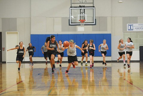 """<b>IT TAKES A COMMUNITY:</b> The Stars had a breakaway opportunity, with the Lynx in hot pursuit. Founded in 1984, the Page Youth Center offers basketball leagues in the winter, volleyball in the spring, camps in the summer, and clinics in the fall. Of the facility, PYC Executive Director Bob Yost said, """"[It's] an island of sanity and love."""""""