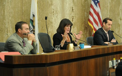 <b>TOTAL TURNAROUND:</b>  All the supervisors agreed Tuesday to hold off on putting an oil-extraction tax on the June ballot. Janet Wolf (center), Salud Carbajal, and Doreen Farr had previously supported the tax but changed their minds this week, siding with Peter Adam (left) and Steve Lavagnino (right).