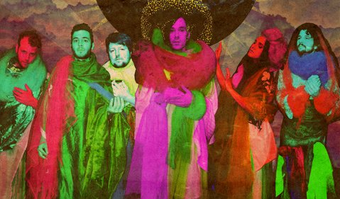 FREAK OUT: Of Montreal is (from left) Bob Parins, Bennet Lewis, JoJo Glidewell, Kevin Barnes, Rebecca Cash, Clayton Rychlik. The band plays UCSB's Hub on Friday, January 24.