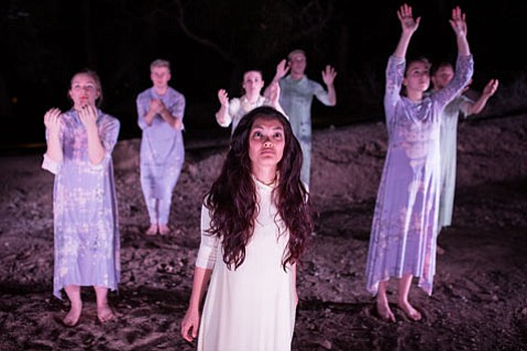 <b>OUT OF THE FOREST:</b>  Sophomore Christine Nathanson (center) takes on the role of Electra in Westmont College's new staging of the Greek tragedy.
