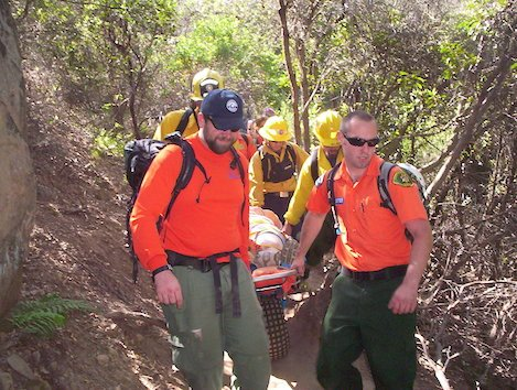 Rescue on Tunnel Trail a few years ago shows how SAR members transport an injured person down the trail.