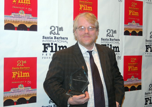 Philip Seymour Hoffman receives the 2006 SBIFF Riviera Award at the Marjorie Luke Theatre. (Feb. 11, 2006)