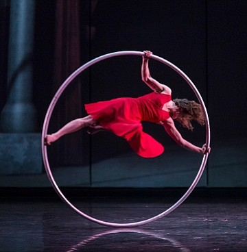 ROUND AND ROUND: <em>Cirkopolis</em>' Angelica Bongiovanni performs a solo on Cyr wheel.