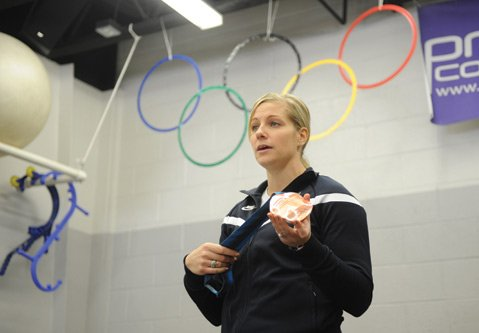 Erin Pac Blumert earned a bronze medal for the U.S. in 2010 as the driver in the two-woman bobsled team. Now retired from competition, she and Peter Blumert, her husband and performance director at Prevail Conditioning, held a mock Winter Olympics for their clients.