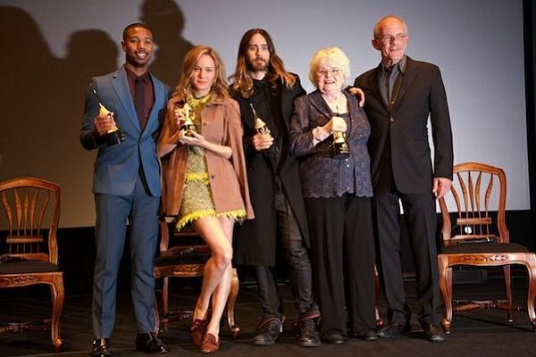 (left to right) Michael B. Jordan, Brie Larson, Jared Leto, June Squibb, Christopher Lloyd