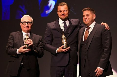Martin Scorsese, Leonard DiCaprio, and Jonah Hill