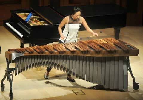 Marimba master Ji Hye Jung during Camerata Pacifica's matinee performance at Hahn Hall