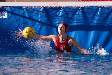 <i>WALL OF WATER:</i>  The showdown in the San Marcos pool last Thursday was the definition of a seesaw battle but a save by Royals goalie Jenna Phreaner in the final seconds won the game for San Marcos.