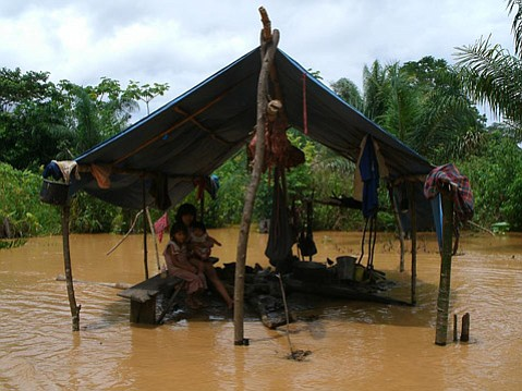 A Tsimane family was stranded as waters rose in recent flooding in Bolivia.