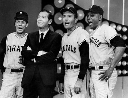 Willie Mays (right) inspired the author's love of the San Francisco Giants. Mays is seen here with (from left) Maury Wills, Milton Berle, and Jimmy Piersall in the television program <em>The Hollywood Palace</em> in 1967.