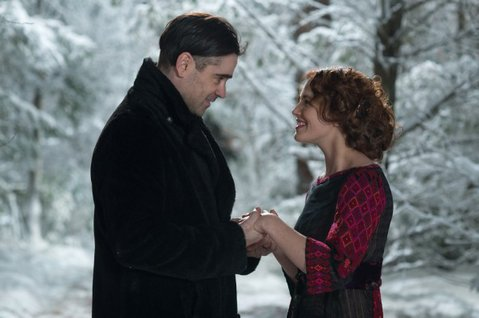 In <em>Winter's Tale</em>, Colin Farrell (left) plays a burglar with the gift of reincarnation. Jessica Brown Findlay portrays the heiress that dies in his arms.