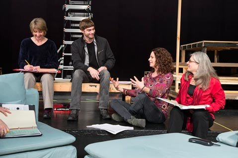<b>NEW NOTES:</b>  Risa Brainin (right, in red) directs UCSB Theater's Launch Pad program for new plays.