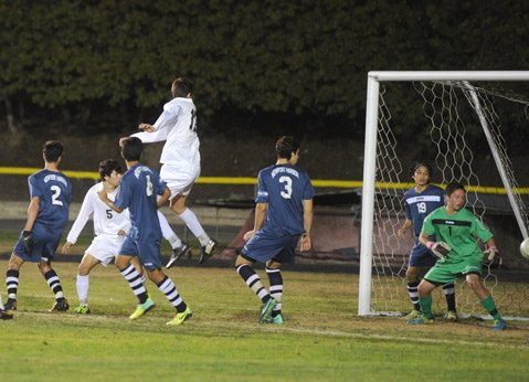 The corner kick by Jorge Garcia-Torres of the Santa Barbara High Dons was deflected in the air, caromed off the leg of a Newport Harbor player, and wound up in the goal.