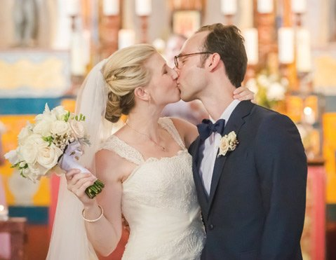 Megan Barnett (left) and Grant Hermes, who met as undergrads at UCSB, were married at El Presidio Chapel in August 2013. Megan wore a dress from Panache Bridal, and the couple chose the University Club of Santa Barbara for their reception.