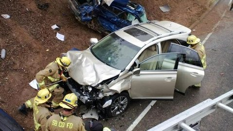 Santa Barbara County firefighters respond to the accident scene