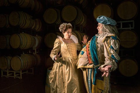 <b>LARGE AND IN CHARGE:</b>  Todd Thomas (right) assumes the title role in Opera Santa Barbara's upcoming performance of Falstaff. Soprano Melody Moore (left) plays Alice Ford.