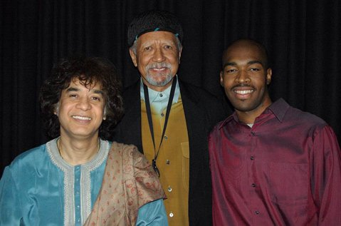 <b>THREE'S COMPANY: </b> Sangam finds Indian tabla master Zakir Hussain (left) and drummer Eric Harland (right) joining forces with jazz pioneer Charles Lloyd (center). The group returns to the Lobero Theatre on March 8.