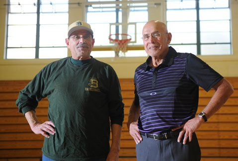 <b>HOOP LEADERS:</b>  Basketball coaches David Bregante (left) from S.B. High and Sal Rodriguez from Laguna Blanca met as teenagers when they played on rival high school basketball teams. The two then became teammates at SBCC where their lifelong friendship was solidified.