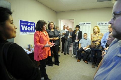 Second District Supervisor Janet Wolf speaks to volunteers and supporters at her new campaign office