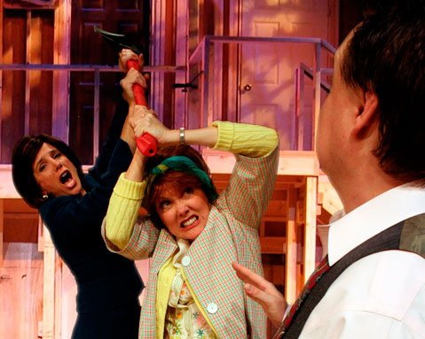 Polly Firestone Walker, Ann Dusenberry and Sean Jackson in The Theatre Group at SBCC's production of <i>Noises Off!</i>