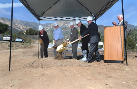 <b>FROM THE ASHES:</b>  The Santa Barbara Botanic Garden hosted a Golden Shovel event to kick off the construction of the Pritzlaff Conservation Center on the site of the former Gane House that burned in the Jesusita Fire.