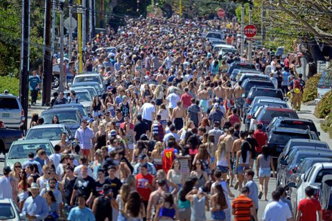 """<b>ADULT ENTERTAINMENT:</b> After the weekend, Foot Patrol Officer Mark Ward called Isla Vista """"the Disneyland for rioters, but you don't have to pay to get in."""""""