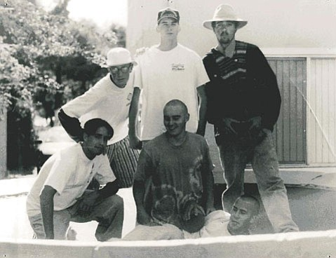 The author (middle in tie-dyed shirt and shaved head) and friends on that fateful Isla Vista excursion 20 years ago.