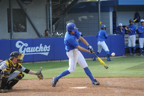 <b>DIAMOND DAYS:</b> Gaucho outfielder Joey Epperson is the leading hitter in the Big West with a .465 average; a view from behind home plate at Caesar Uyesaka Stadium.