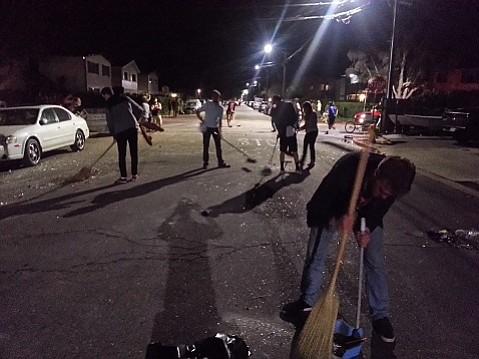 Isla Vistans clean up post-Deltopia 2014.
