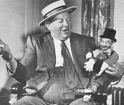 "<b>POWERFUL PUPPETEER:</b>  Lobbyist Artie Samish talks to ""Mr. Legislature."""