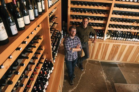 The author (right) and Eric Railsback own Les Marchands in the Funk Zone, which is hosting the second annual wine futures tasting this Saturday.