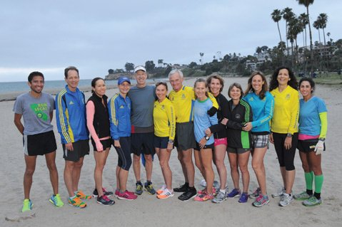 "<b>BOSTON BOUND:</b> These Santa Barbara runners gathered early last Saturday morning for one of their last workouts before they head east to undertake Monday's 118th Boston Marathon: (from left) Ramiro ""Curly"" Guillen, Craig Prater, Jill Zachary, Katie Vining, Sandy Roberts, Debbie Kovanda, Gary Clancy, Liz Mikkelson, Jana McKee, Maggie Mason, Jamie Allison, Heidi Heitkamp, and Laurel Mehler."