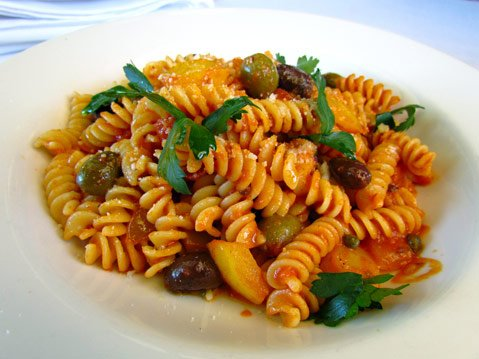 Fusilli pasta alla puttanesca at popular East Victoria Street Italian restaurant.