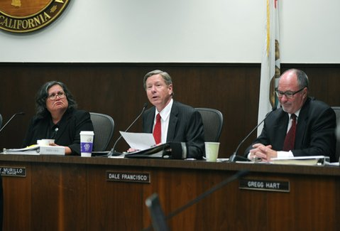 <b>AGAINST THE TIDE:</b>  After more than three hours of public comment — all but one speaker opposed the gang injunction—Councilmember Dale Francisco (center) gave a lengthy rebuttal in support of the filing.