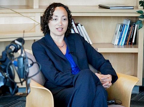 <b>STRATEGIZING:</b>  Catherine Lhamon, assistant secretary for civil rights in the U.S. Department of Education, visited UCSB last week to discuss efforts to combat sexual violence.