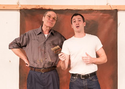 <b>LIVE PAINTING:</b>  Matt Gottlieb (left) plays Rothko, and Shaun Anthony portrays his assistant Ken in Ensemble Theatre Company's production of <i>Red</i>.