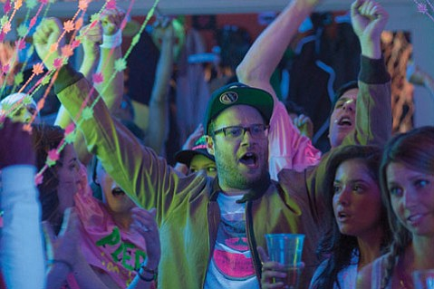 <b>BROS 'N THE BURB:</b>  Seth Rogen stars as the father of a newborn who finds himself forced to live next door to a frat house in <i>Neighbors</i>.