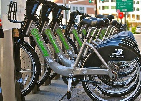 Hubway bicycles in Boston docking station await riders.