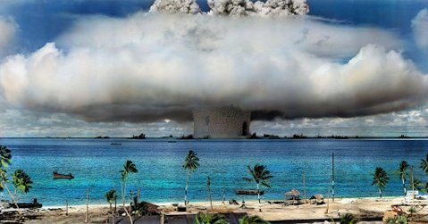 PARADISE LOST: On March 1, 1954, the United States tested its most powerful nuclear device at the time, a 15-megaton hydrogen bomb (1,000 more powerful than those dropped on Hiroshima and Nagasaki) that detonated at Bikini Atoll in the Marshall Islands. The test was meant to be a secret, and islanders who suffered radiation sickness from the fallout weren't evacuated until three days later.