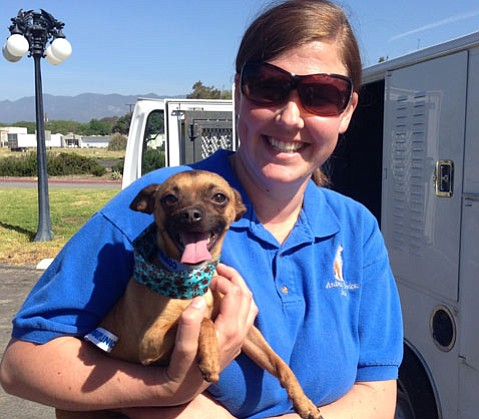 Stacy Silva took Charlie for a quick walk before his trip to Oregon.