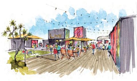 An artist's rendering of the future Funk Zone Artist Village