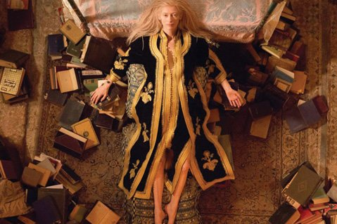 <b>LONG IN THE TOOTH:</b>  Tilda Swinton stars as Eve, a vampire with a taste for classic lit, vinyl records, and type O-negative, in Jim Jarmusch's <i>Only Lovers Left Alive</i>.