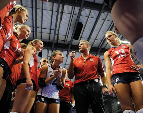 <b>GOING FOR GOLD: </b>Four-time Olympian Karch Kiraly (pictured, second from right) is in his second season as head coach for the U.S. women's national team and has plans to lead them to a gold medal at the 2016 Games.